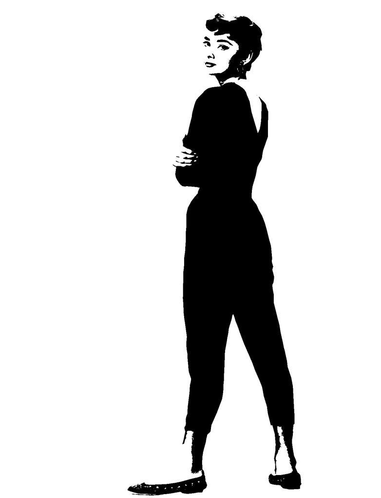 Audrey Hepburn Black And White Stencil