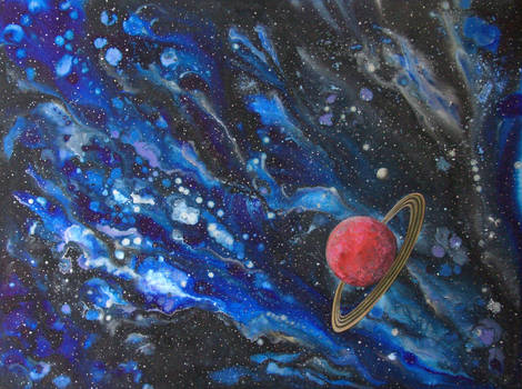 Red ringed planet