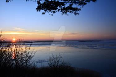 Witner susnet at Szczecin Lagoon
