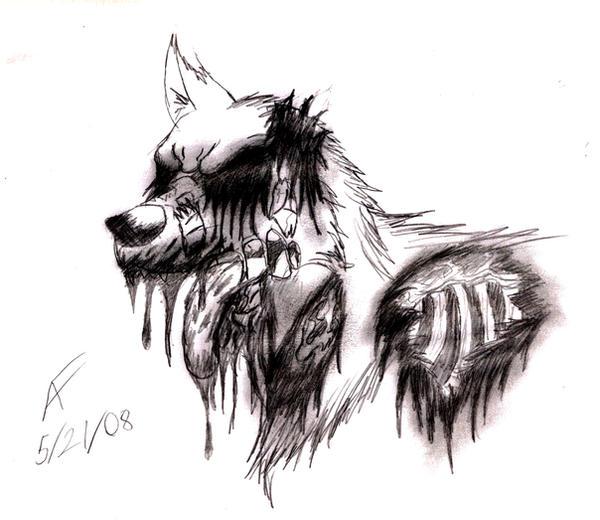 Giftart for Volski wolf zombie by soukonwolf1Zombie Wolf Drawing
