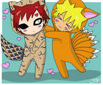 Gaara and Naruto cosplaying