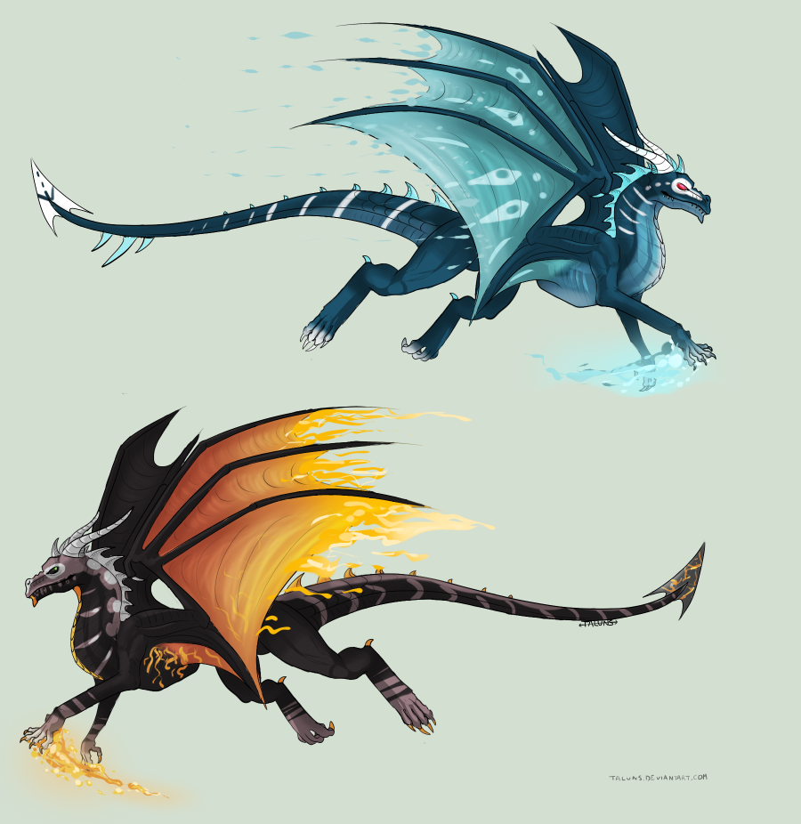 FIRE AND ICE Dragon adopt! -CLOSED- by Arklen