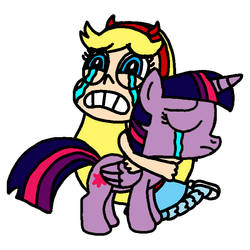 Star and Twilight crying and hugging by Blackrhinoranger