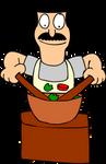 Bob Belcher making a salad