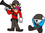 Waluigi and Officer Bob as Soldier