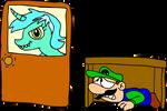 Luigi hiding from Lyraptor