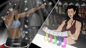 Korrasami AU - DJ!Korra, Bartender!Asami (SLVV)