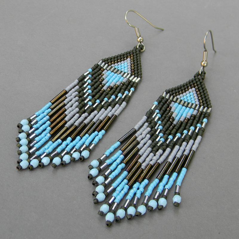 seed bead earrings green blue grey by