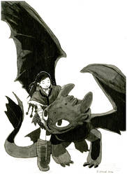 Toothless and Viking Vet - Commission
