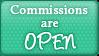 Commission Open Button by pumpkin-spice-desu