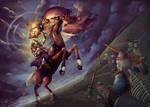 Zelda Collab: MaLink Horseback by Adella