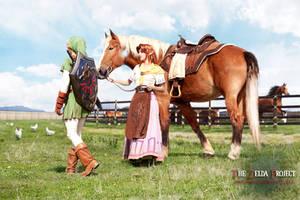 TZP: Link Malon Epona and Cuccos by Adella