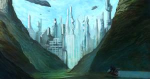 sci fi city by chanmeleon