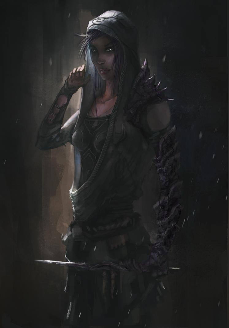 Elf Character- Black Song Female by chanmeleon