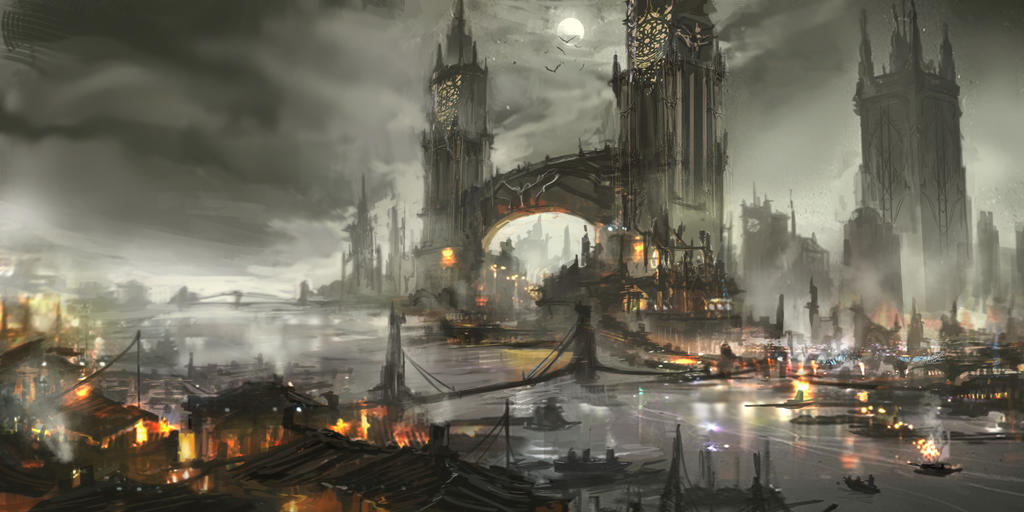 Bloodborne Inspired Cityscape by chanmeleon