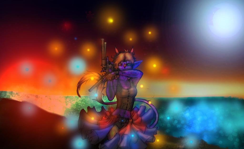 Sunset Alien Gun Dance  by anubis-x