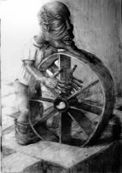 dwarf pushing the wheel by kebek