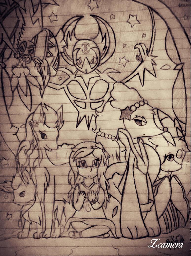 Pokemon Moon Team (Sketch) by StarlightNexus-Chan