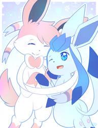 Sylveon and Glaceon Hugs by StarlightNexus-Chan
