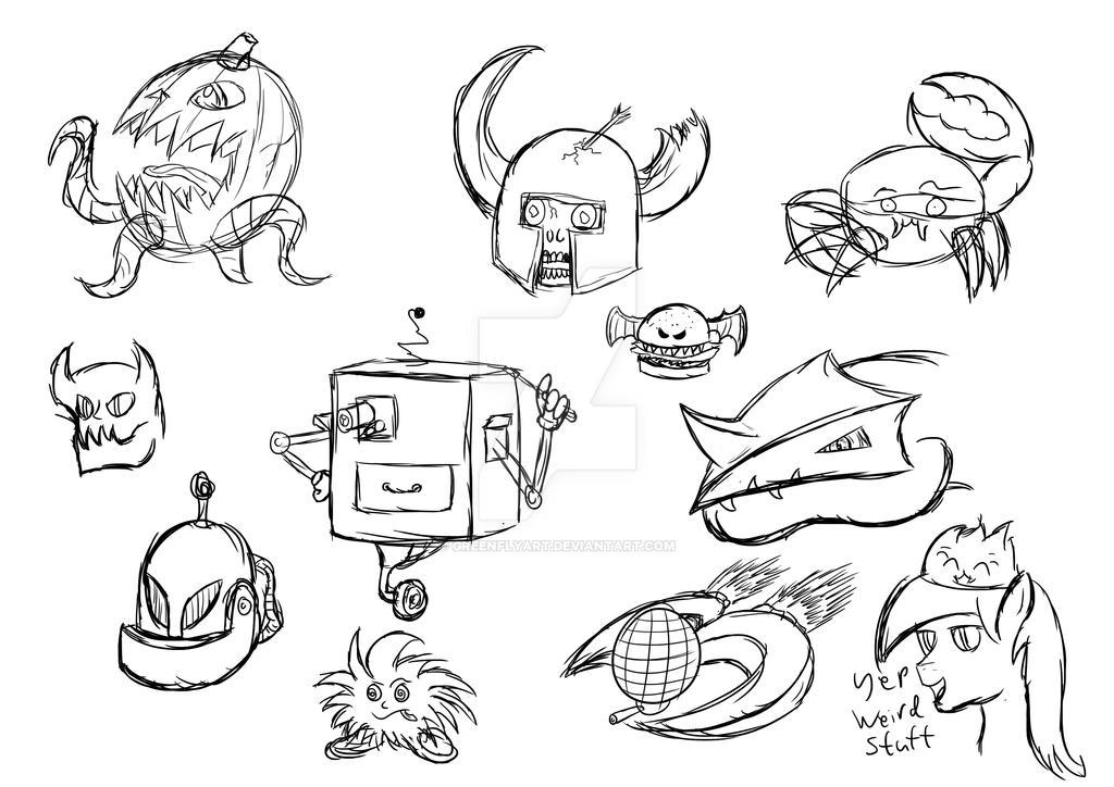 Weird Warm Up sketches by GreenflyArt