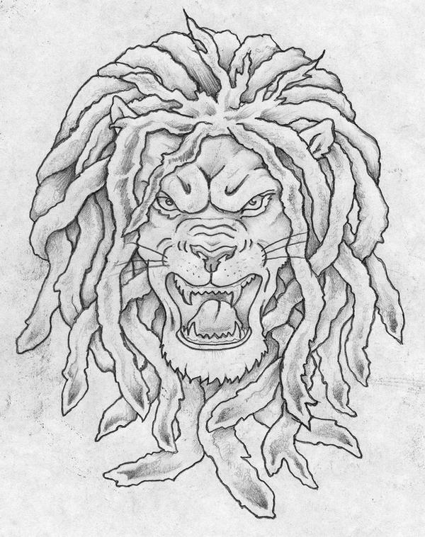 Lion with dreads tattoo drawings - photo#5