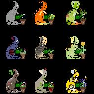 Watering plants - pixels