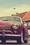 red karmann ghia old summer