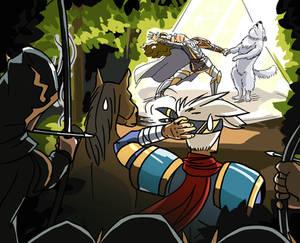 Draw me riding a wolf defeating Landius