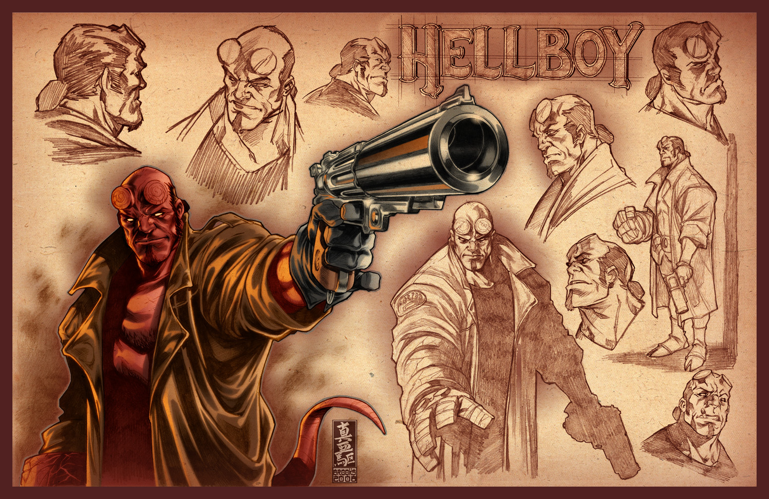 Hellboy sketches by diablo2003