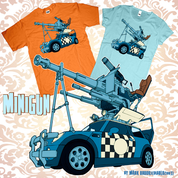 Minigun t-shirt design by diablo2003