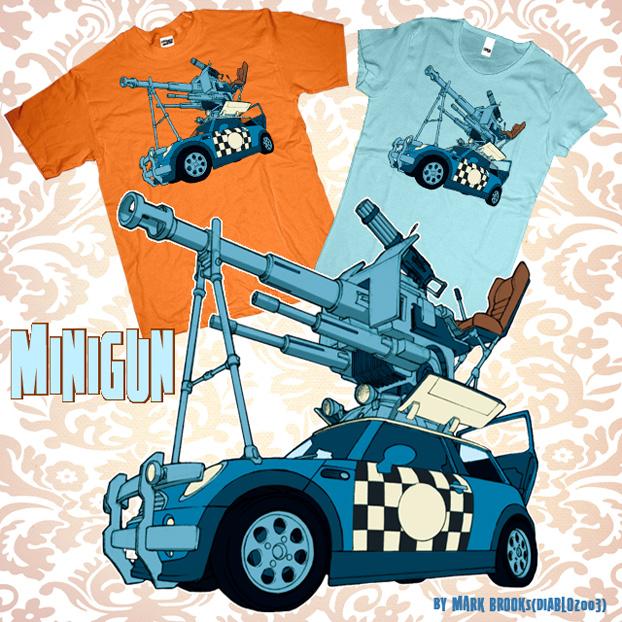 Minigun t-shirt design by diablo2003