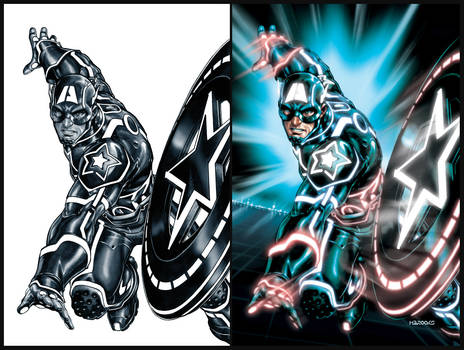 Captain America TRON-ified