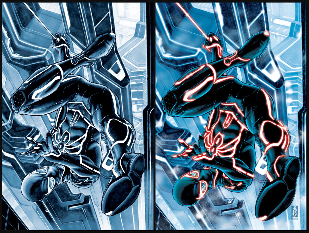 Spider-man TRON-ified by diablo2003 on DeviantArt