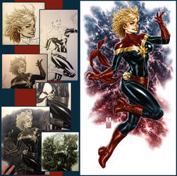Captain Marvel colors and steps