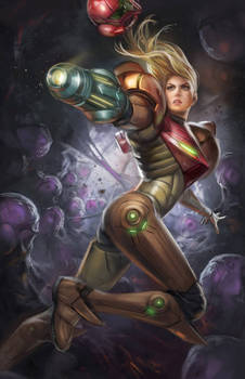 Samus in the Metroid Nest