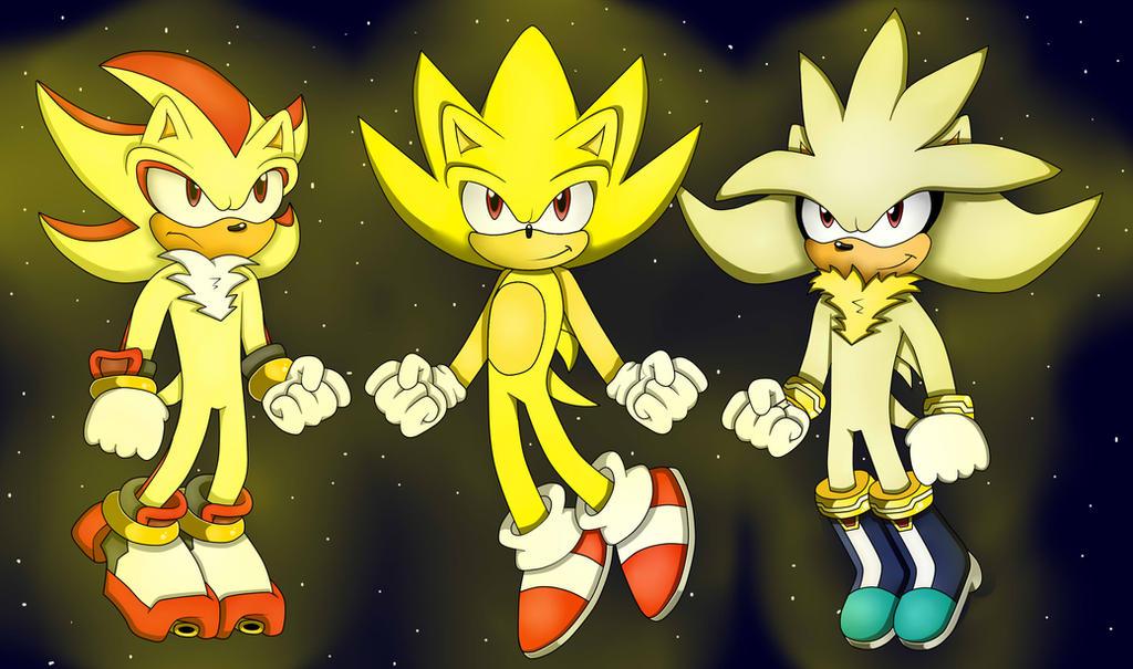 super sonic shadow and silver by skylerrosehedgehog on
