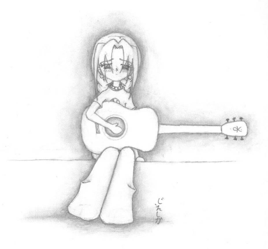 A sad girl and her guitar by animewidgit