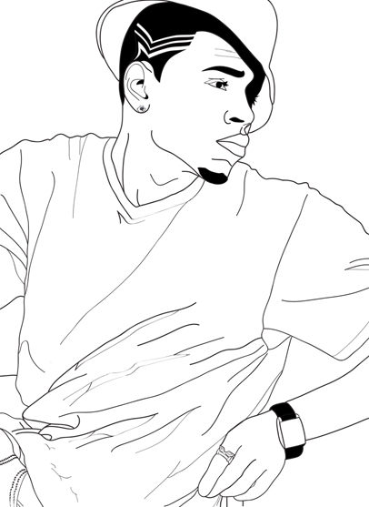Chris Brown Drawings Sketch Coloring Page Chris Brown Coloring Pages
