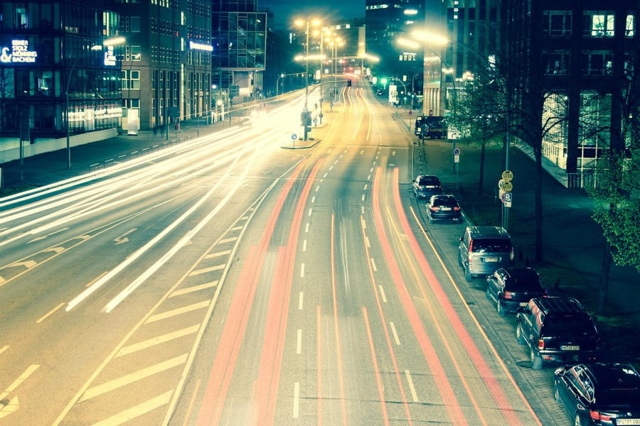 RushHour Hamburg in the Night by AwesomeMediaGroup