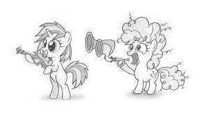 Music Lesson 3 - filly Scratch and Pinkie by Agamnentzar