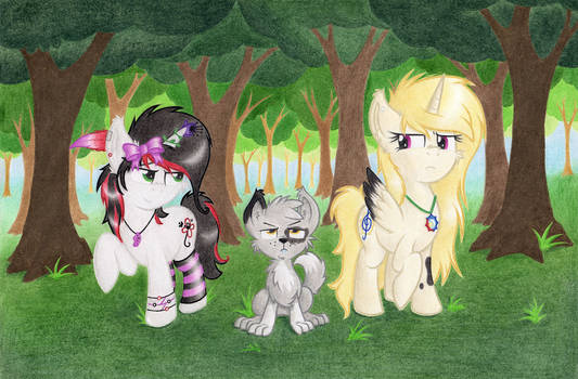 Ponies and a doggie
