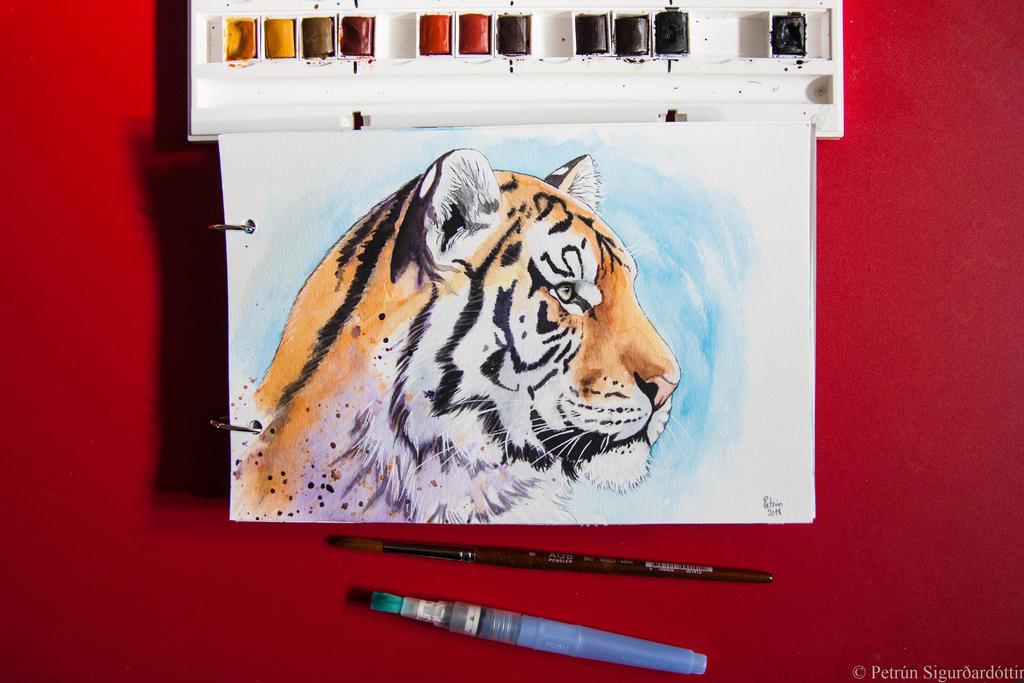Watercolor tiger by petrunsig