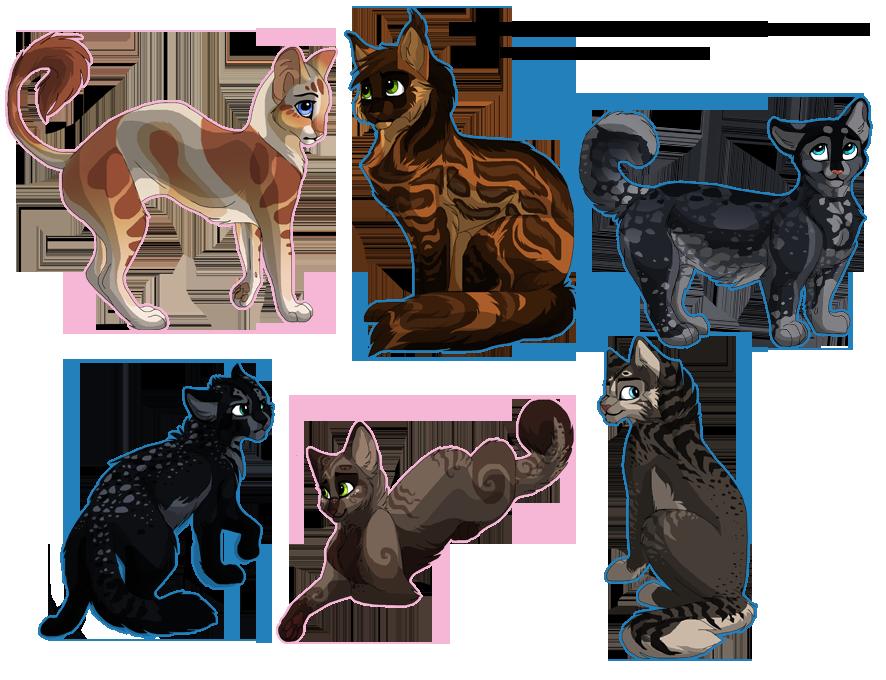 PebbleXBullrush kits, 3 random cats by DancingfoxesLF