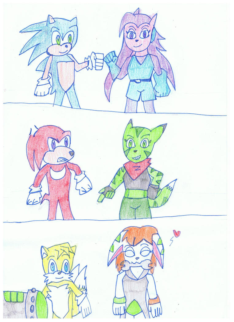 Art trade: Team sonic meets freedom planet cast by KivaEnergyArms