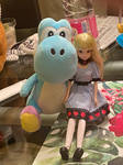 Xmas Light Blue Yoshi with Disney fashion doll