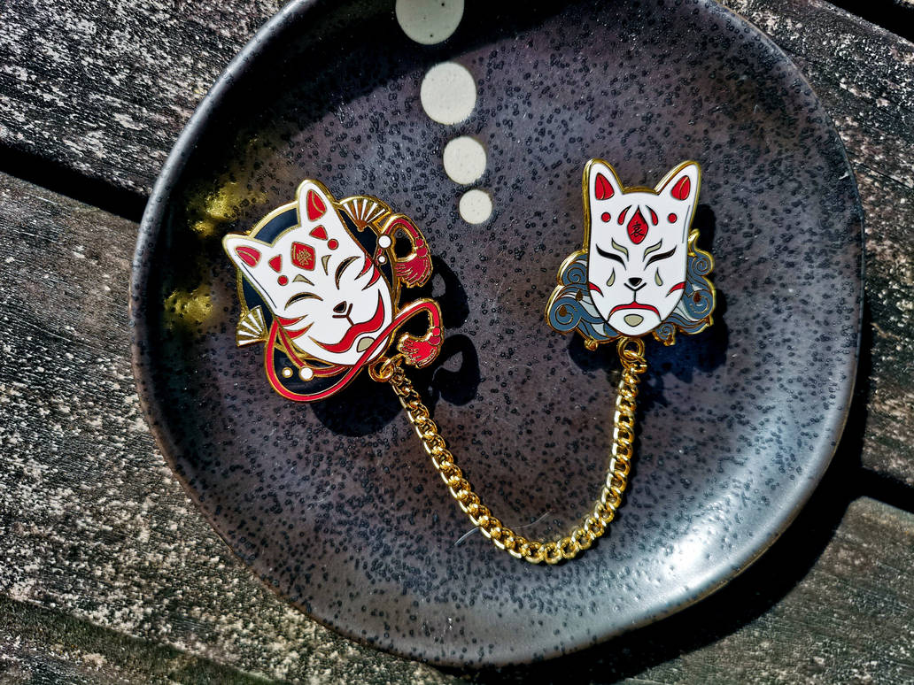 Kitsune Mood Mask Hard Enamel Pins by Lokiev