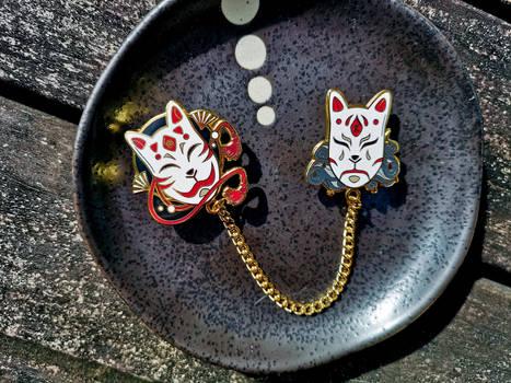 Kitsune Mood Mask Hard Enamel Pins