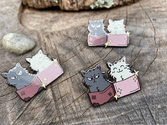 Cats in Boxes - Enamel pin!