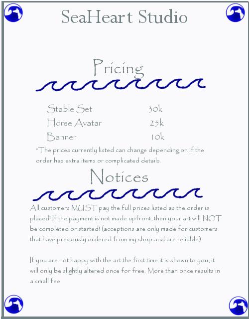 Sea Heart Studio pricelist (HEE) by SeaHeartStables