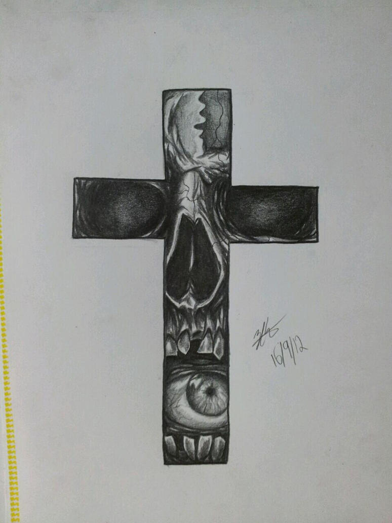 Cross eyed Skull by MagnaSicParvis on DeviantArt Skull And Cross Drawing